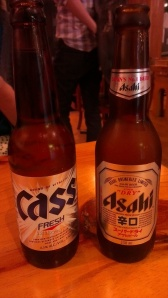 Cass, which is a Korean beer, and Asahi, a Japanese beer.